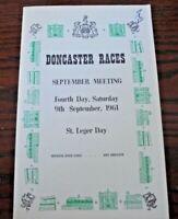 DONCASTER RACE CARD SEPTEMBER 1961 - ST LEGER & AURELIUS (MURLESS & PIGGOTT)