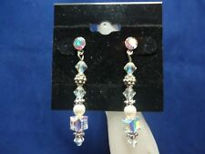 """1 3/4"""" Drop X 1/4"""" Multiple Shapes Top Quality Name Brand Crystal Post Earrings"""