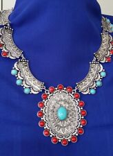SET Western Indian Navajo Silver-tone Engraved Necklaces Turquoise Red N7-2/22