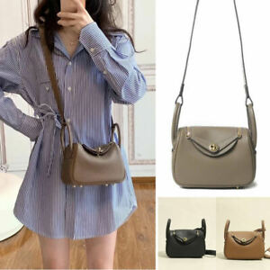 Mini Real Leather Tote Bag Shoulder Purse Crossbody Doctor's Bag Double Handles