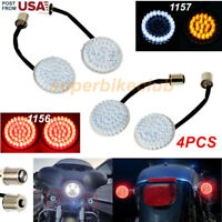 Front 1157 & Rear 1156 Bullet LED Turn Signals Lights for Harley Dyna Motorcycle