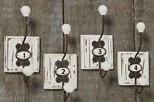 4 piezas gancho de la pared blanco Peoria Hierro HUNDIDO Perchero Nostalgia Chic