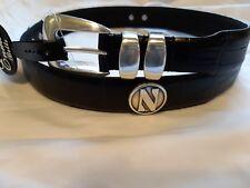 Men's Black Genuine Leather Belt With Northwestern University Conchos Size 34 R