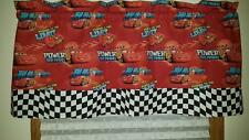 "DISNEY CARS/BUILT FOR SPEED/CHECKERED FLAG CURTAIN VALANCE 42""W X 17""L NEW!"