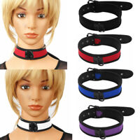 Mens Womens Neoprene Adjustable Padded Choker Collar Neck Harness w/Metal D-Ring