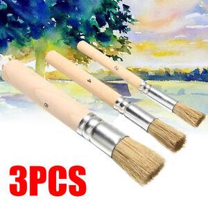 3pcs Wooden Stencil Brush Hog Bristle Brush Acrylic Watercolor Oil Paintings USE