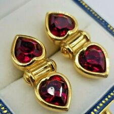 Signed SAL Gold tone Red Swarovski Crystal heart oblong Pierced post Earrings