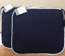 NEW 2PC Pottery Barn SMALL Classic Sunbrella Dining Chair Cushions NAVY W/ WHITE