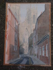 PETER IDEN 1972 ORIGINAL YORK MINSTER SIGNED WATERCOLOR PAINTING ON PAPER