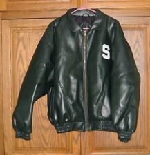 MICHIGAN STATE SPARTANS VARSITY JACKET STEVE AND BARRY FAUX LEATHER SIZE L