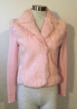 NWOT Kaisely Pink Sweater Jacket Real Fur Long Sleeve Small