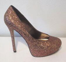 Bakers Gold Bronze Metallic Sparkle Platform Stiletto Heels Shoes 9.5