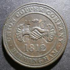 "PENNY TOKEN-Union cuivre 1812-W.348 TRÈS RARE & countermarks ""HG"" &"" HC"""