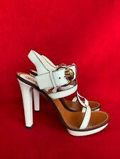 Gucci White Leather Platform Sandals Size 39