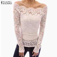 Women's Off Shoulder Lace Solid Shirt Long Sleeve Top Blouse Plus Size