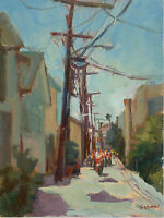 Original Oil Painting ( Alleyway Ride) canvas board size 12 x 16 Single.