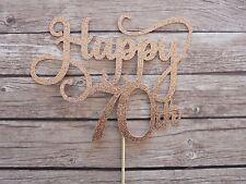 Happy 70th Cake Topper - Rose Gold Seventy birthday topper, cake decor