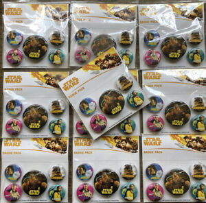 Joblot Of 10 Packs Of Star Wars Official Pin Backed Badge Pack Movie Brand New