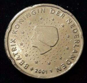 Monnaie 20 Cent Euro Pays-Bas 2001 Roue de wagon Erreur faute fautée (87)
