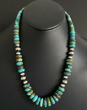 Sterling Silver Graduated Blue Green Turquoise Bead Necklace. 22 inch