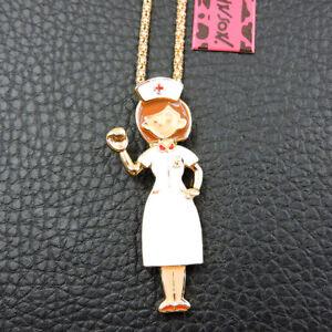 Women's Fashion Enamel Nurse Pendant Betsey Johnson Long Chain Necklace