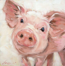 Original Art Oil Painting Impressionism Animal Painting on Canvas Acrylic Pig