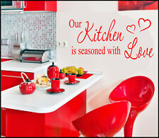 FAMILY KITCHEN WALL ART STICKERS QUOTES SAYINGS DINING DECOR SEASONED WITH LOVE