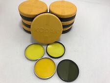 VINTAGE KODAK WRATTEN Series VII K2 (yellow) FILTERS W/ HARD ROUND PLASTIC CASES