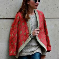 ZARA RED ETHNIC JACQUARD CARDIGAN BLAZER JACKET COAT PONCHO CAPE S SMALL UK 8