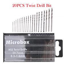 20 tlg. Set HSS-Spiralbohrer 0.3 mm - 1.6 mm Mini Bohrer Mikrobohrer Handbohrer