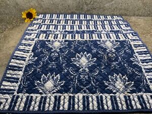 Set 4 Williams Sonoma Reversible Placemats Blue Stripe &  Quilted French Country