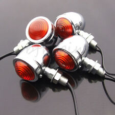 4pcs Retro Metal Motorcycle Turn Signal Lights Indicator Bulb Blinker For Harley
