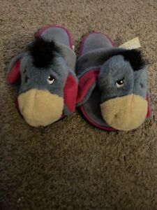 Vintage Disney Official Eeyore Plush Slippers Winnie the Pooh  Size Large 10-11