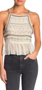 Free People $68 Camille Embroidered Embellished Camisole Ivory Size M OB1037959