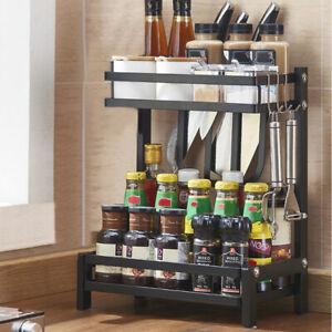 Kitchen 2 Tier Spice Rack Pantry Shelf Seasoning Storage Stand & Knife Holder