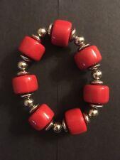 Ladies Girls Red Silver Bangle Bracelet