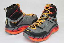 HOKA ONE TOR ULTRA HIGH WP BLACK FLAME LEATHER TRAIL BOOTS MENS SIZE 10.5 US