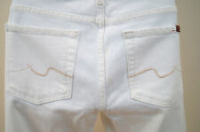 7 FOR ALL MANKIND Womens White Denim Straight Leg Jeans Sz 29