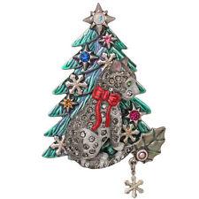 NEW KIRKS FOLLY MALCOLM THE CAT'S CHRISTMAS TREE  PIN/ENHANCER  SILVERTONE