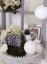 Christbaumkugel Weiß Spitze Glas Weihnachten Shabby Vintage Nostalgie Christmas