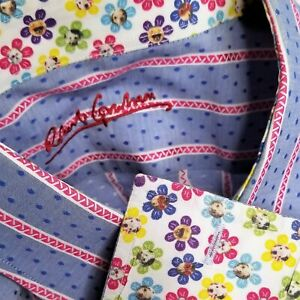 Robert Graham French Cuff Flowers and Dogs Blue Red Button Down Shirt XL / XXL