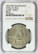 1899 Switzerland Luzern-Kriens Swiss Shooting Fest Silver Medal R-878a NGC MS 63