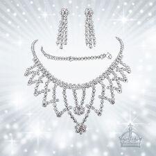 Schmuckset 3tlg. Collier Kette Strass Armband Ohrring Hochzeit Brautschmuck HZ15