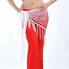 Bellydance Hip Scarf Dance Costume Skirt Wrap Gridding Tassel Trangle Waist Belt