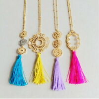 Fashion Silk Tassel Necklace Bohemian Long Chain Metal Filigree Pendant Necklace