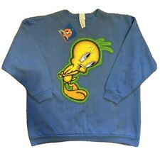 Vintage 1997 NOS NWT Tweety Bird Looney Tunes Blue Crew Neck Sweatshirt Size L