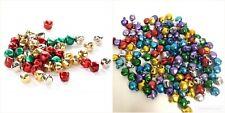 100 Pieces 6mm/10mm Jingle Bells Christmas Ornament Crafts; Mix Colors