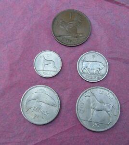 Ireland Eire - Pre-Decimal lot  5 Coins -  Penny to Half Crown 1952-1964