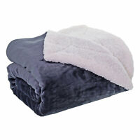 Supersoft Plain Slate Grey Throw with a Sherpa Faux Fleece Reverse 140cm x 180cm