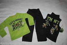 Boys 3 PC Set TMNT NINJA TURTLES Sweatshirt Pants & Vest GREEN BLACK Size 4